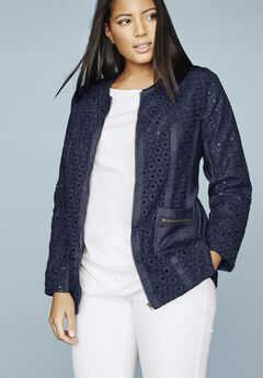 Eyelet Jacket With Denim Trim,