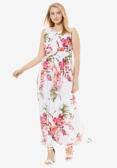 Pleated Empire Dress, RASPBERRY FLORAL, hi-res
