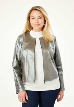 Collarless Leather Jacket, PEARLIZED PEWTER