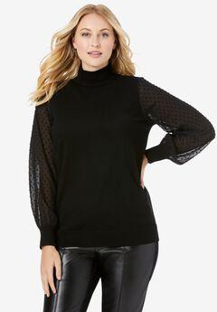 Blouson Sleeve Mockneck Sweater,