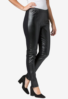 Ankle Zip Leather and Ponté Jeggings, BLACK, hi-res