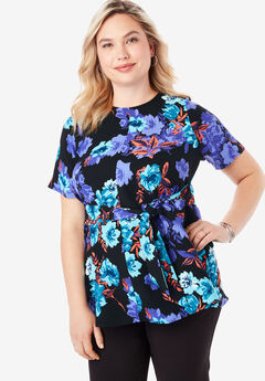 Tie-Front Tunic, BLACK WATERCOLOR ROSE