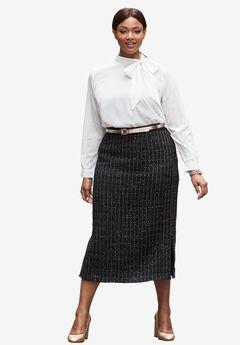 Sequin Tweed Skirt,