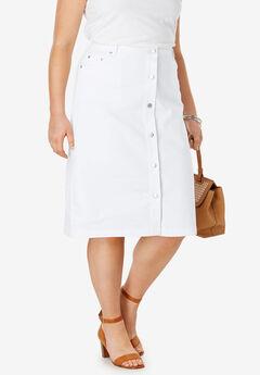 True Fit Denim A-Line Skirt, WHITE