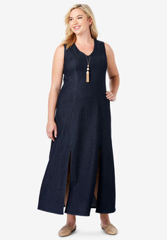 Denim A-Line Maxi Dress,