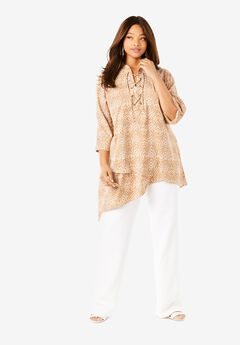 Lace-Up Georgette Tunic, LAYERED ANIMAL