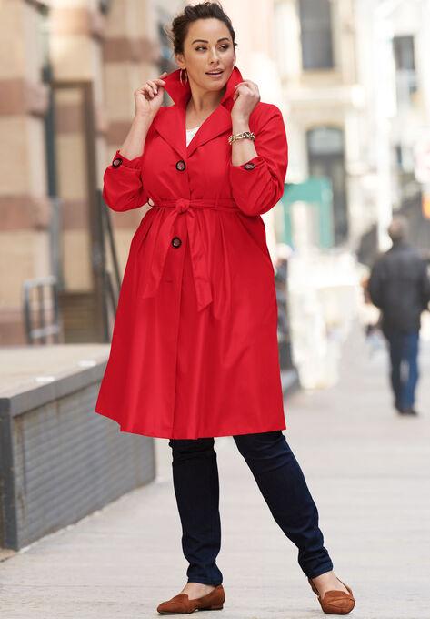 Pleated Trench Coat| Plus Size Trench & Raincoats | Roaman\'s