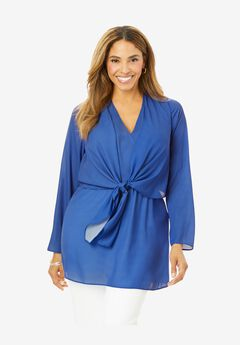 Knot Front Georgette Tunic, TRUE BLUE