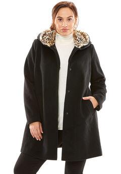 A-Line Coat With Leopard-Print Hood, BLACK, hi-res