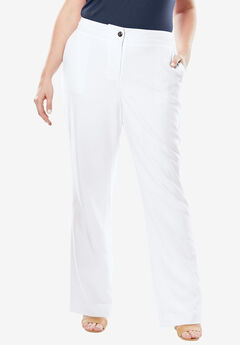 Boot Cut Bi-Stretch Pants, WHITE