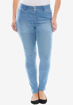 Tummy-Control Skinny Jeans, LIGHT WASH SANDED, hi-res