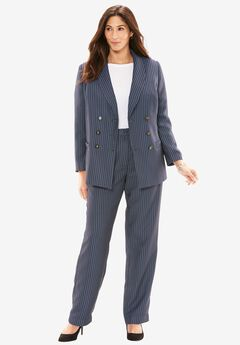 Double-Breasted Pantsuit, NAVY/WHITE STRIPE, hi-res