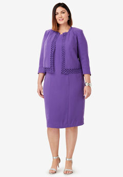 Lace Trim Jacket Dress, TRUE PURPLE