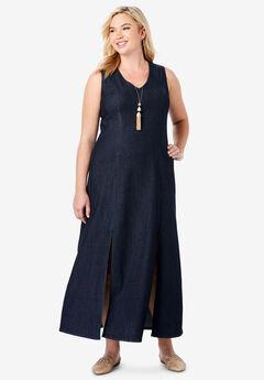 Denim A-Line Maxi Dress, INDIGO