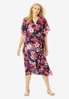 Floral Faux Wrap Dress,
