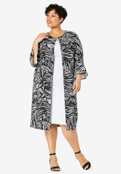 Bell Sleeve Ponte Jacket Dress, BLACK ABSTRACT ZEBRA