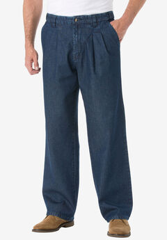 Relaxed Fit Comfort Waist Pleat-Front Expandable Jeans,