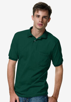 Hanes® Cotton-Blend EcoSmart® Jersey Polo with Pocket,