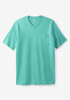 Shrink-Less™ Lightweight Longer-Length V-neck T-shirt,