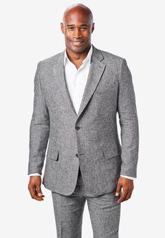 KS Island™ Linen Blend Two-Button Suit Jacket, BLACK