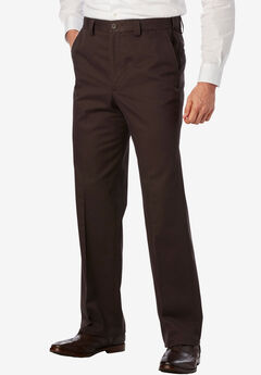 Relaxed Fit Wrinkle-Free Expandable Waist Plain Front Pants,