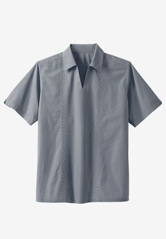 Short Sleeve Guayabera Popover Shirt, GUNMETAL