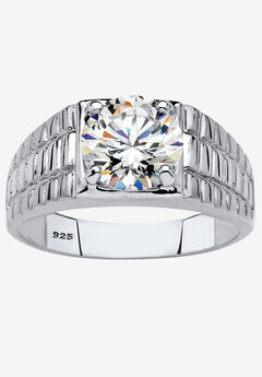 Platinum-Plated Cubic Zirconia Watchband Ring,