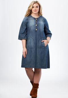 Denim Shirt Dress, MEDIUM STONEWASH