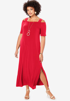 Cold-Shoulder Maxi Dress,