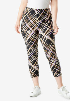 Essential Stretch Capri Legging, BRUSHSTROKE PLAID