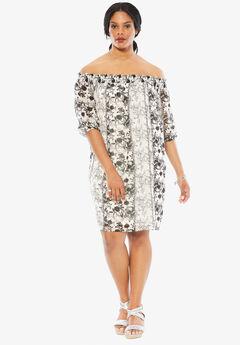 Off The Shoulder Dress, BLACK WHITE PRINT, hi-res