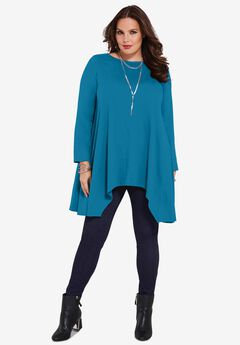 Handkerchief Hem Ultimate Tunic, PEACOCK TEAL