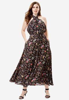 Wrapped Halter Maxi Dress, FIELD FLORAL PRINT, hi-res