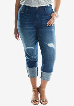 Denim 24/7® Cuffed Boyfriend Jeans, MEDIUM STONEWASH, hi-res