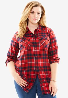 Flannel Plaid Shirt, RED GREEN PLAID, hi-res