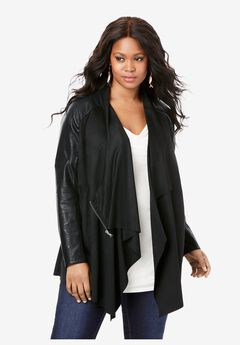 Soft Draped Jacket, BLACK