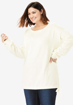 Fine Gauge Pullover with Side-Tie, IVORY