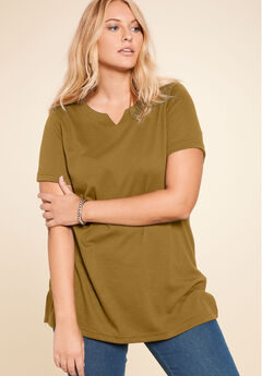 Notch Neck Tunic, OLIVE MOSS, hi-res