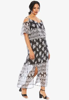 Strap Boho Dress, BLACK WHITE PAISLEY, hi-res