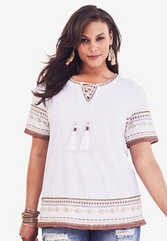Embroidered Lace-Up Tee, WHITE, hi-res