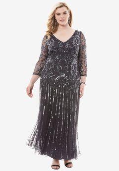 Beaded V-neck Dress by Pisarro Nights, BLUE, hi-res
