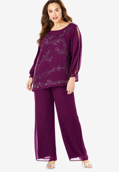 Beaded Illusion-Sleeve Top, DARK BERRY