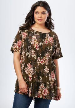 Angelina Tunic in Crinkle Crepe, OLIVE CHERRY BLOSSOM
