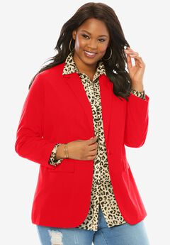 Boyfriend Blazer, HOT RED, hi-res