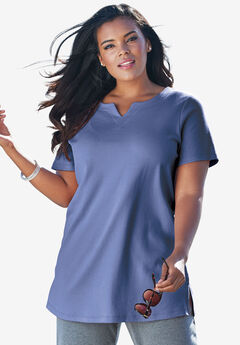 Notch Neck Tunic, DARK BLUE, hi-res