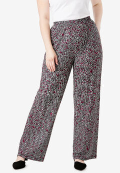 Wide-Leg Pant, TEXTURED PRINT