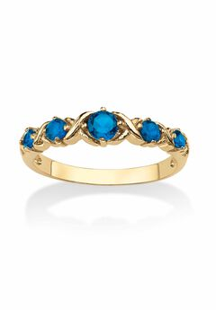 Yellow Gold-Plated Simulated Birthstone Ring,