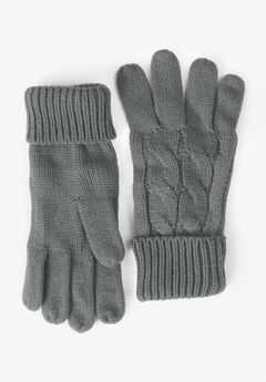 Cable Knit Gloves, SLATE
