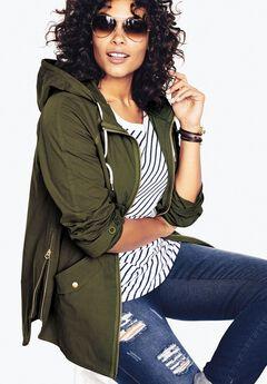 Hooded Anorak Jacket, DARK BASIL, hi-res
