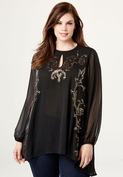 Embellished Keyhole Tunic with Sequins,